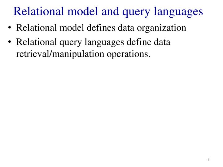 Relational model and query languages