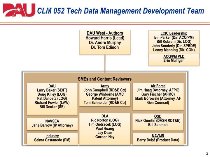 CLM 052 Tech Data Management Development Team