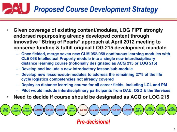 Proposed Course Development Strategy