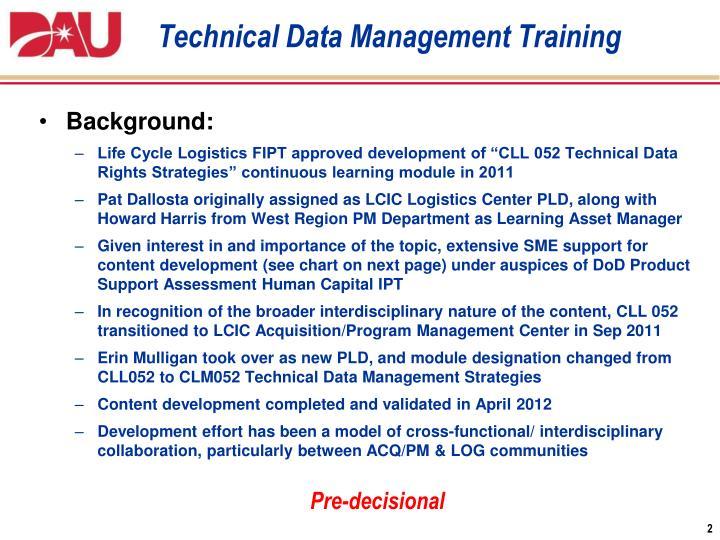 Technical Data Management Training