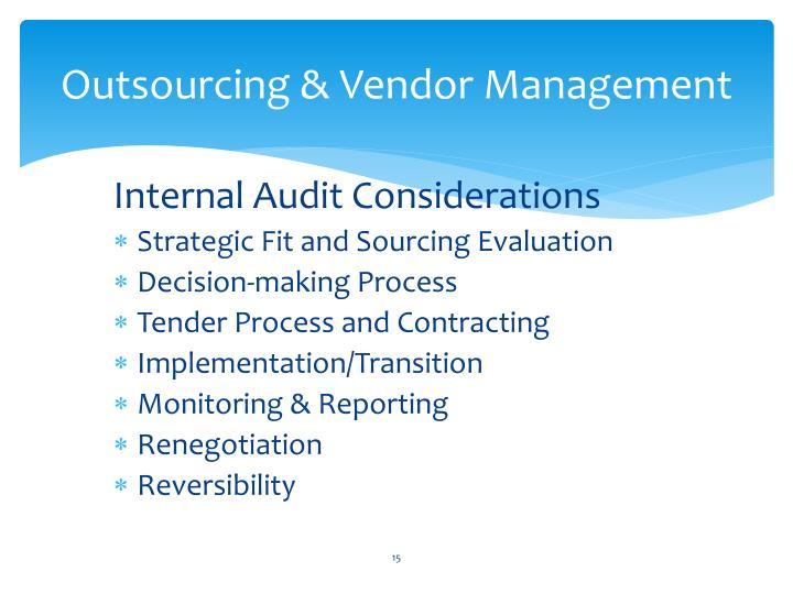 Outsourcing & Vendor Management