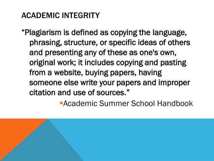 Academic Integrity