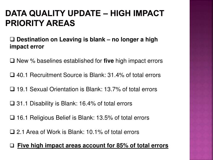Data Quality update – HIGH IMPACT priority areas