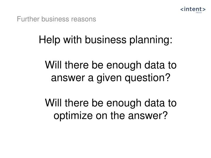 Help with business planning: