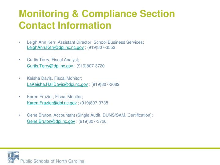 Monitoring & Compliance Section Contact
