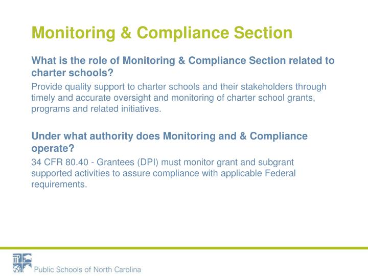 Monitoring compliance section