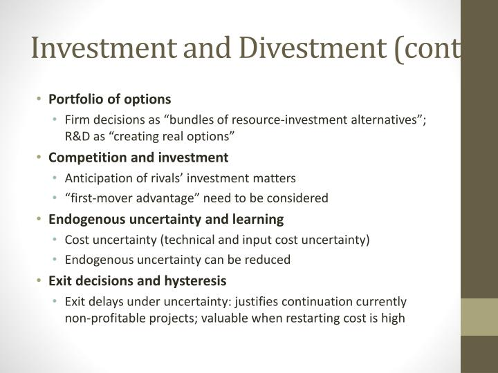 Investment and Divestment (