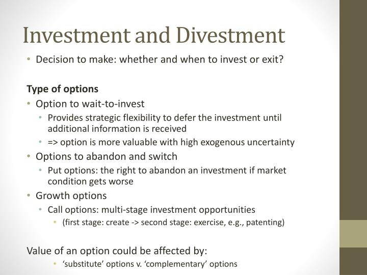 Investment and Divestment
