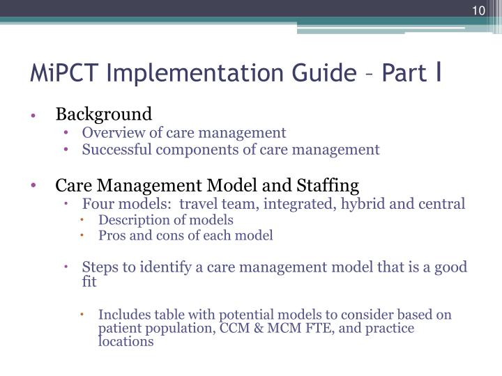 MiPCT Implementation Guide – Part