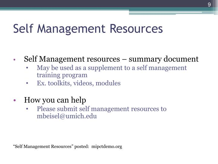 Self Management Resources