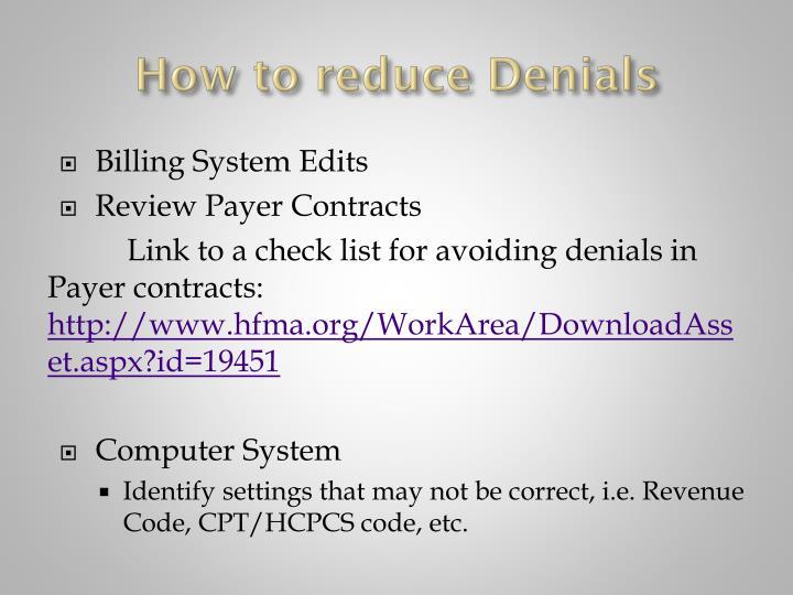 How to reduce Denials