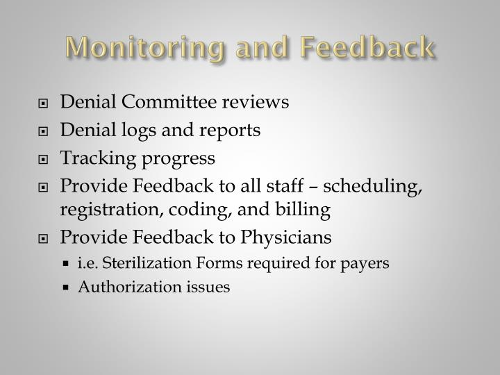 Monitoring and Feedback