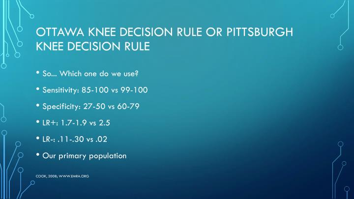 Ottawa Knee Decision Rule or Pittsburgh Knee Decision Rule
