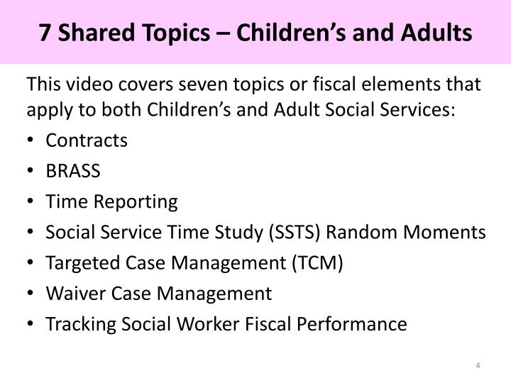 7 Shared Topics – Children's and Adults