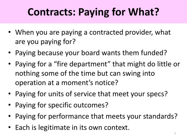 Contracts: Paying for What?