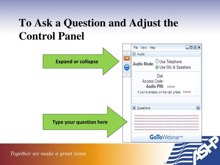 To Ask a Question and Adjust the Control Panel