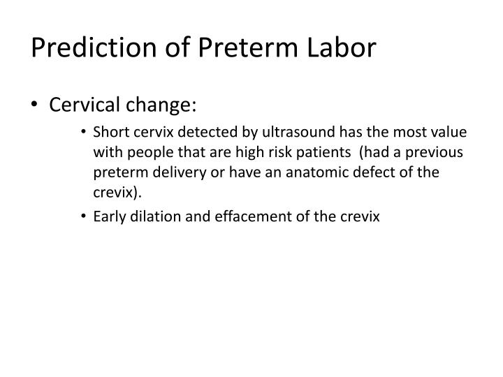 Prediction of Preterm Labor