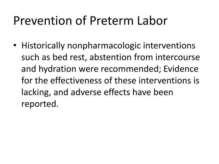 Prevention of Preterm Labor