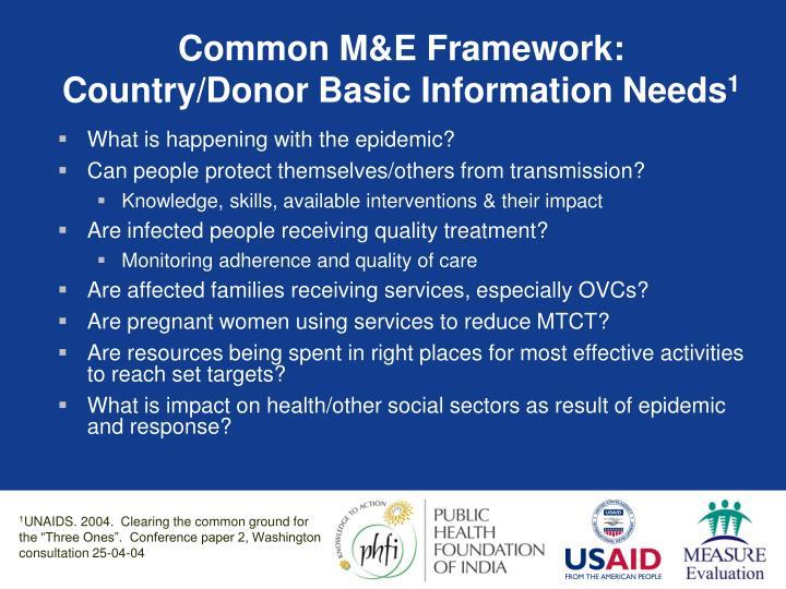 Common M&E Framework: