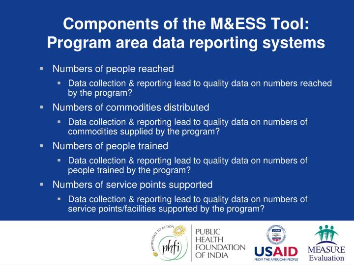Components of the M&ESS Tool: