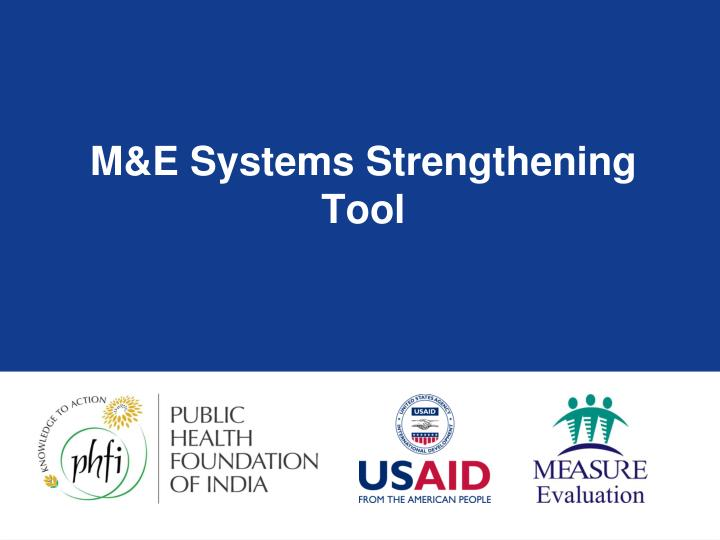 M&E Systems Strengthening Tool