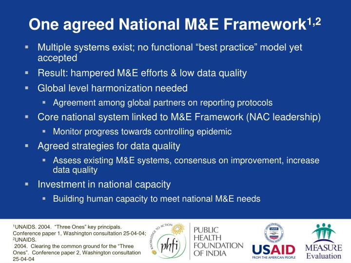 One agreed National M&E Framework