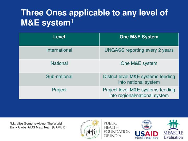 Three Ones applicable to any level of M&E system