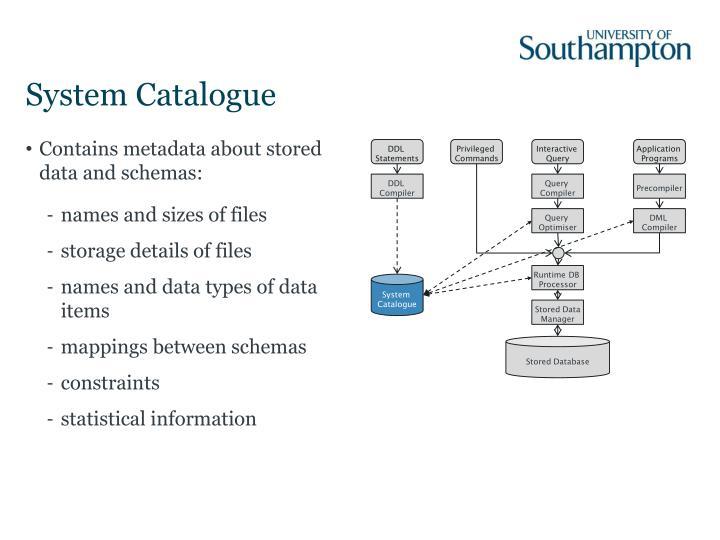System Catalogue