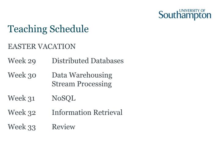 Teaching Schedule