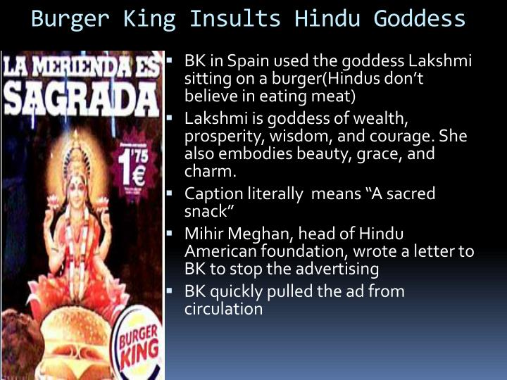 Burger king insults hindu goddess