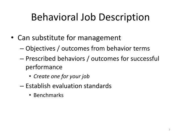 Behavioral Job Description