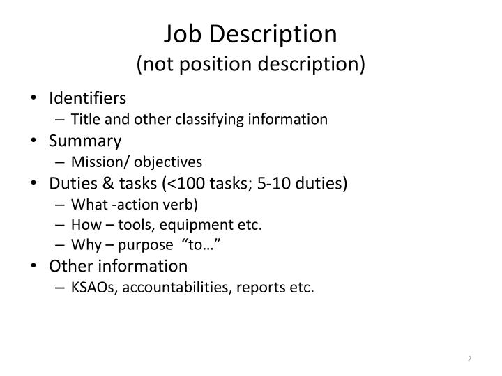 Job description not position description