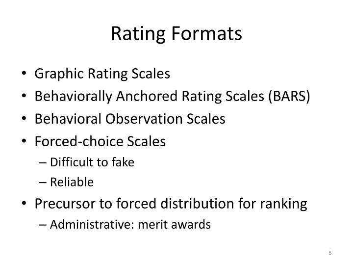 Rating Formats