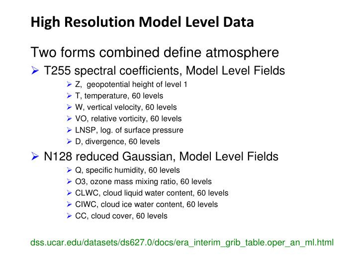 High Resolution Model Level Data