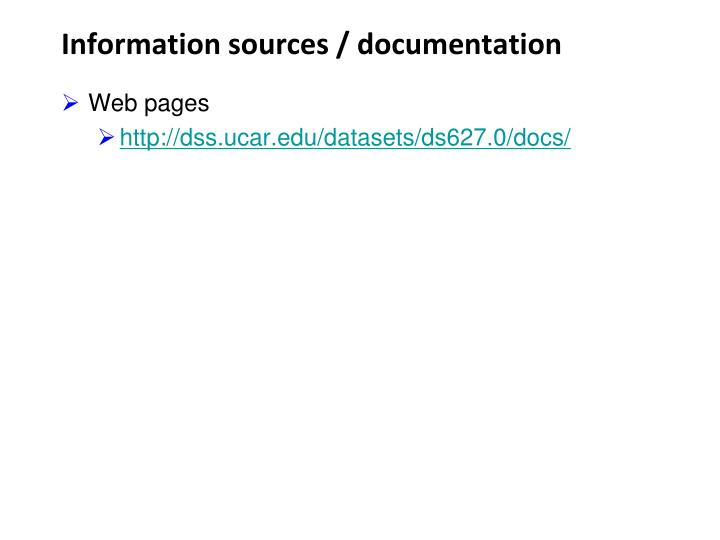 Information sources documentation
