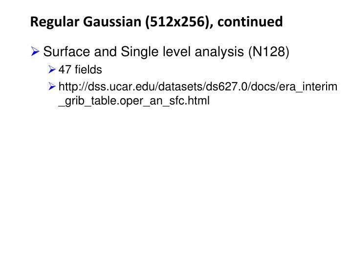 Regular Gaussian (512x256), continued