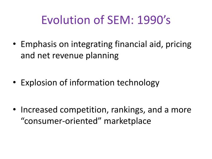 Evolution of SEM: 1990's
