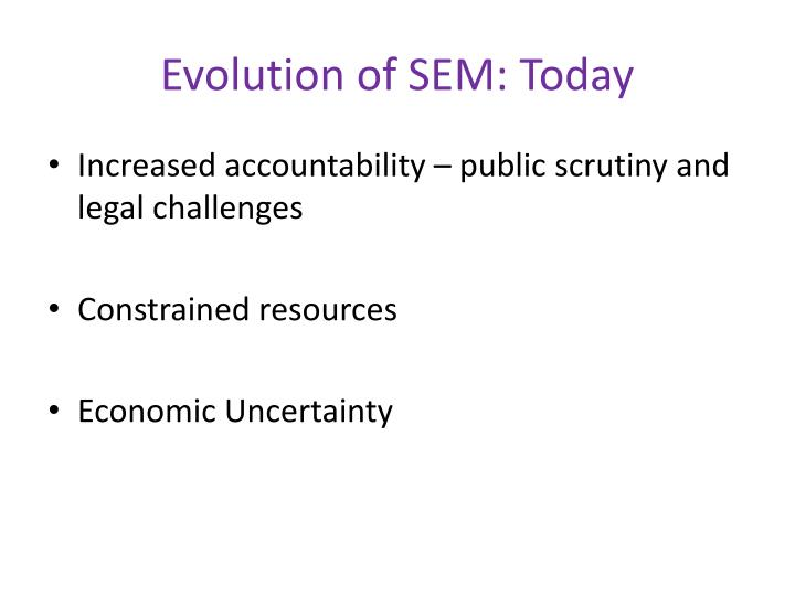Evolution of SEM: Today