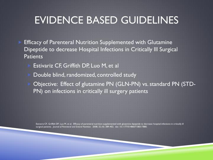 Evidence Based Guidelines