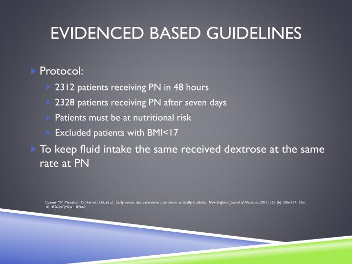 Evidenced Based Guidelines