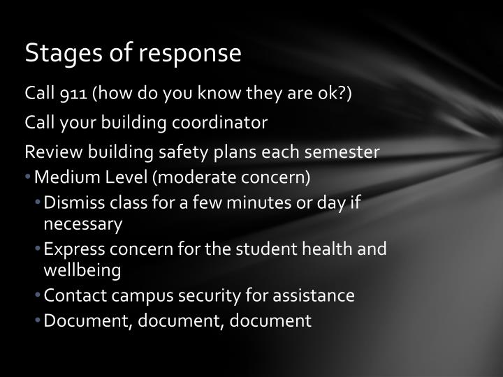 Stages of response