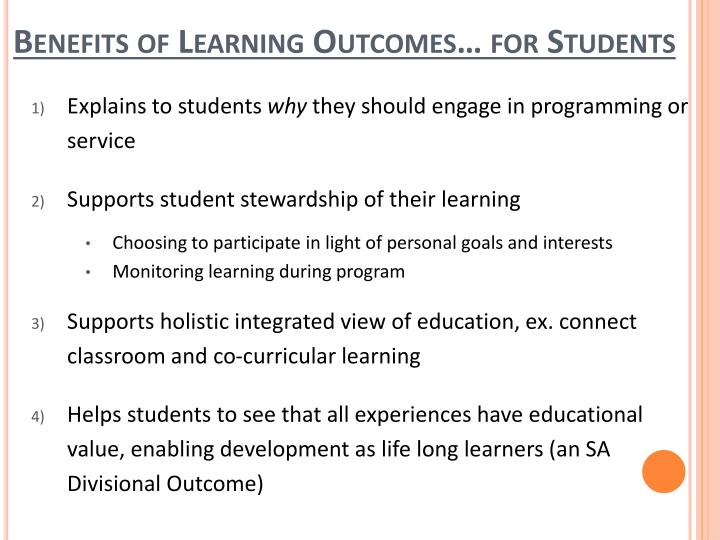 Benefits of Learning Outcomes… for Students