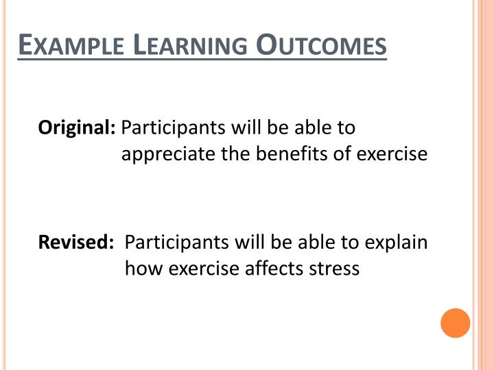 Example Learning Outcomes