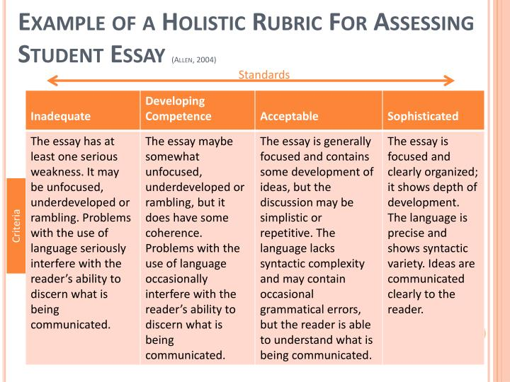 Example of a Holistic Rubric For Assessing Student Essay