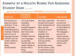 example of a holistic rubric for assessing student essay allen 2004