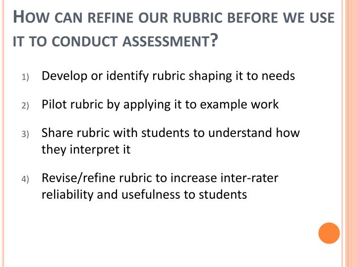 How can refine our rubric before we use it to conduct assessment?