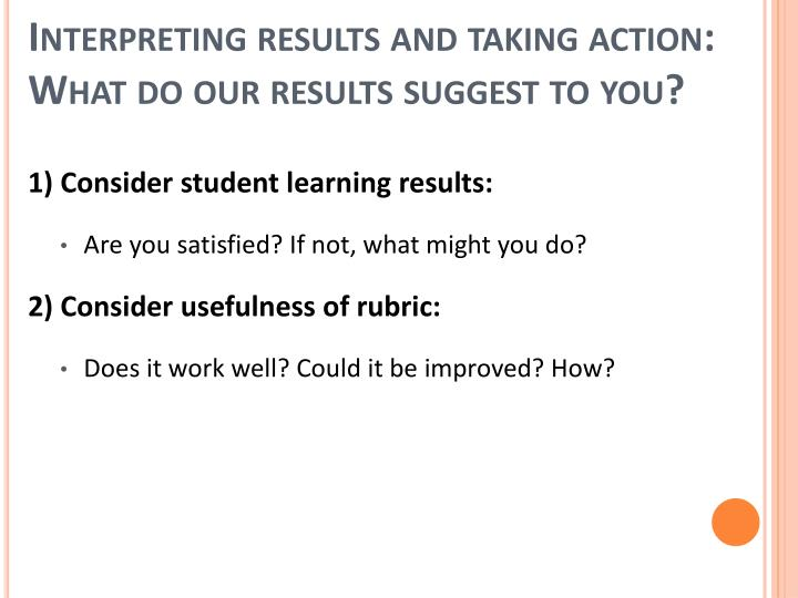 Interpreting results and taking action: What do our results suggest to you?