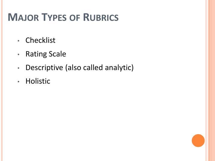 Major Types of Rubrics