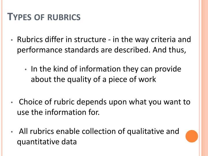 Types of rubrics