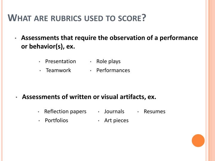 What are rubrics used to score?
